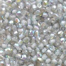 True 2mm Fire Polished, Crystal Blue Rainbow - 50